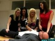 Cfnm femdom girls office handjob