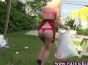 Sorority amateur girls made to strip for chores