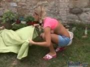 Samantha is fucking and sucking outdoor