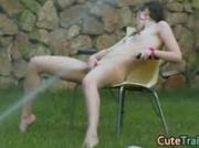 Wet masturbation in the grass