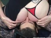 Mistress demands young slave to thoroughly lick her ass