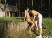 Russian couple and outdoor oral sex
