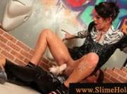 Lesbians gets wam in a gloryhole