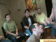Group of horny gay men sucking sausage by cocksausage
