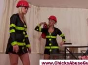 Sexy lady firefighters dominate guy