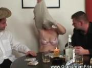 Horny granny playing strip poker