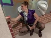 Gloryhole messy fetish slut sucks fake cock