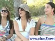 Cfnm girls humiliates men at the beach