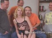 Blonde slut pussy played with before sucking on a group of dicks