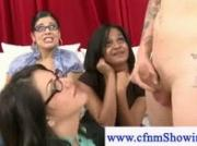 Cfnm girl with big boobs gives casting guy a blowjob