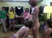 Lesbians lube up for dildo train
