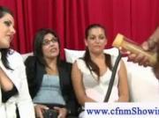 Girls measure dick in penis pump during cfnm show