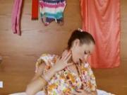 Thin russian babysitter Natasna dildoing
