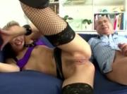 Dirty blonde whore pounded hard by throbbing member