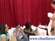 Cfnm girls measuring a guy cum shot