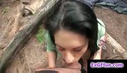 Round ass busty brunette bella fucked outside in the woods