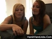 Axa jay and jessica pressley giving a harsh handjob