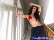 Angelina on the stairs showing off