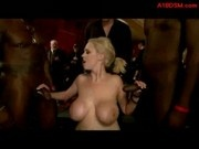 Busty Blonde Slave Tied To Frame Sucking Fucked By Black Guys On The Party At The Lounge