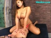 Asian Girl Riding On Guy Cum To Condom Sucking Cock On The Bed