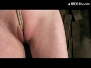 Slim Blonde Mouthgag Hanging Getting Her Pussy Fingered Stimulated With Vibrator Whipped