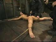 Julie Night tied face down, punished by 2 doms