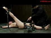 Blonde Girl Tied To Floor Clips On Nipples Getting Her Pussy Fucked With Fucksaw By Master In The Du