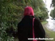 Pregnant redhead in public