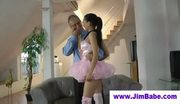 Sexy ballerina sucking off old man