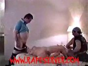 Blonde forced, whipped and spanked by two guys after shower