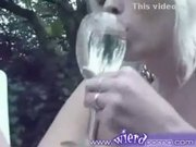 British babes piss into glass and drinks all of it