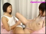 2 Young Girls Rubbing Oil On Themselves Rubbing Pussies In Scissor Using Vibrator On The Bed