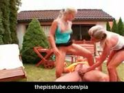Two girls sharing a hard cock and they pee on the guy while