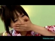 Asian Girl In Kimono Getting Blindfolded Tits Rubbed Pussy Stimulated With Toy On The Couch