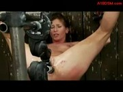 Girl With Tied Arms And Legs Getting Her Pussy And Asshole Fucked  With Fucksaws While Clit Stimulat