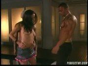 Hot latina fucks two big cocks