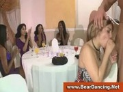 Bachelorettes sucking naked guy at cfnm party