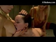 Hogtied Girl Getting Her Ass Fucked With Strapon Licking Pussy Spanked Hook To Ass By 2 Hot Girls In