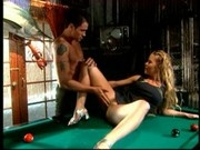 Julie Meadows on a Pool Table