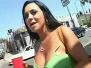 Busty babe mariah flashing her tits in public