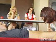 Schoolgirls practice giving blowjobs