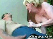 Granny fucked on the floor doggy she gets a facial and swall
