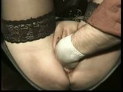 Horny tied slave with her legs spread and pussy pierced is f