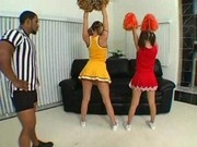 Hot cheerleades Cristina Agave and Delilah Strong swap cum after an interracial