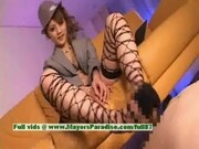 Stunning asian model in stockings is gives a hot blowjob