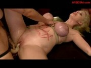 Busty Blonde Slave Tied To Desk Getting Her Pussy Fucked With Strapon Getting Facials Licking Girls 