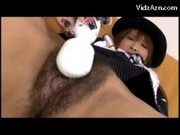 Hot Stewardes In Uniform Having Orgasm While Getting Her Pussy Stimulated With Vibrators By Her Boss