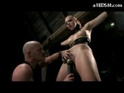 Blonde Girl In Boots And Corset Tied Arms Nipples Sucked Whipped Pussy Stimulated With Vibrator In T
