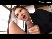 Busty Mature Lady In Black Kimono Sucking Jerking Guys Cock