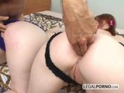 Two sexy girls showing off their butts get fucked hard by a big cock GB-8-02